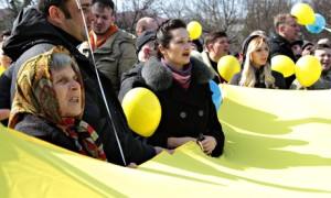 Euromaidan supporters protest against the forthcoming referendum on the Crimea's accession to Russia