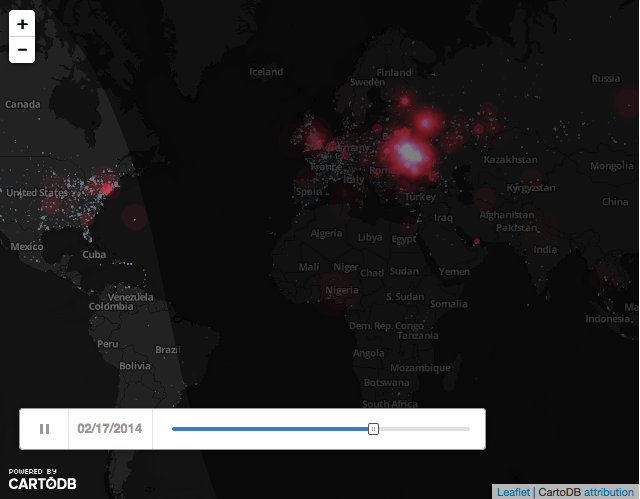A time lapse of Twitter mentions of Ukraine. Click to view source.