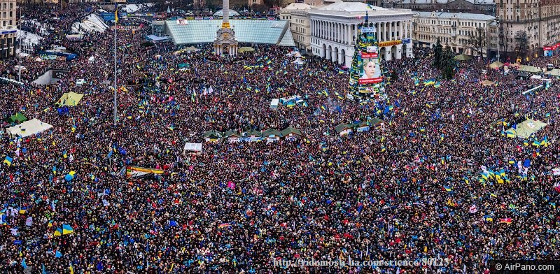 "Photo: Panorama of the ""March of Millions"" in Kyiv. Illustration for announced course on the Euromaidan at the University of Alberta."