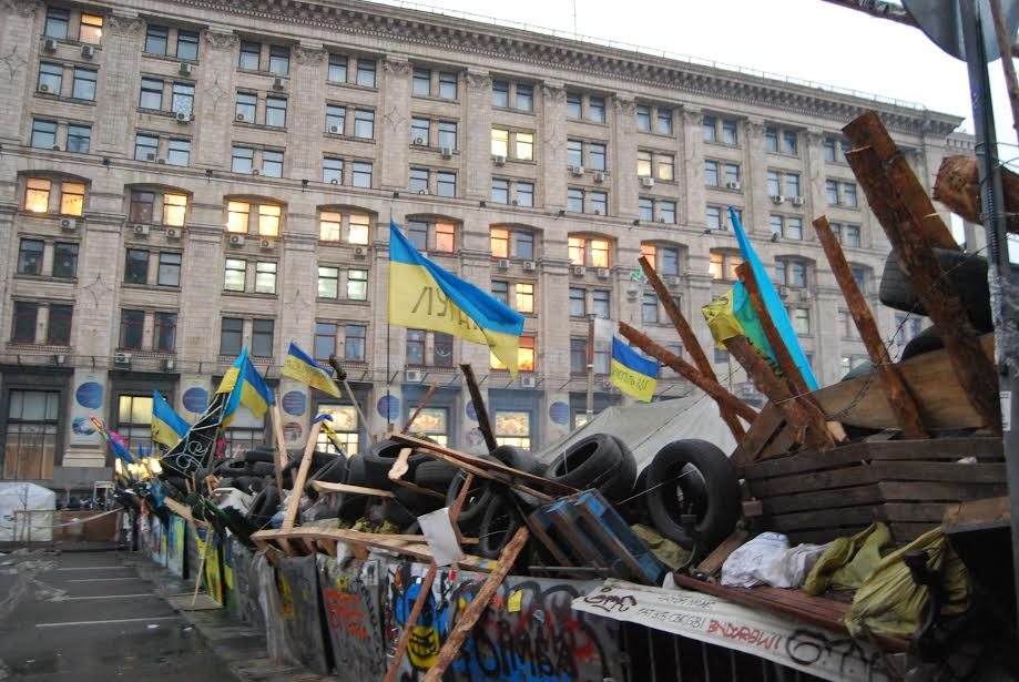 "Photo: Barricade. Illustration for Olga Vynogradova's ""EuroMaidan: Revolution of Selfless, Generous and Fearless Ordinary People"""